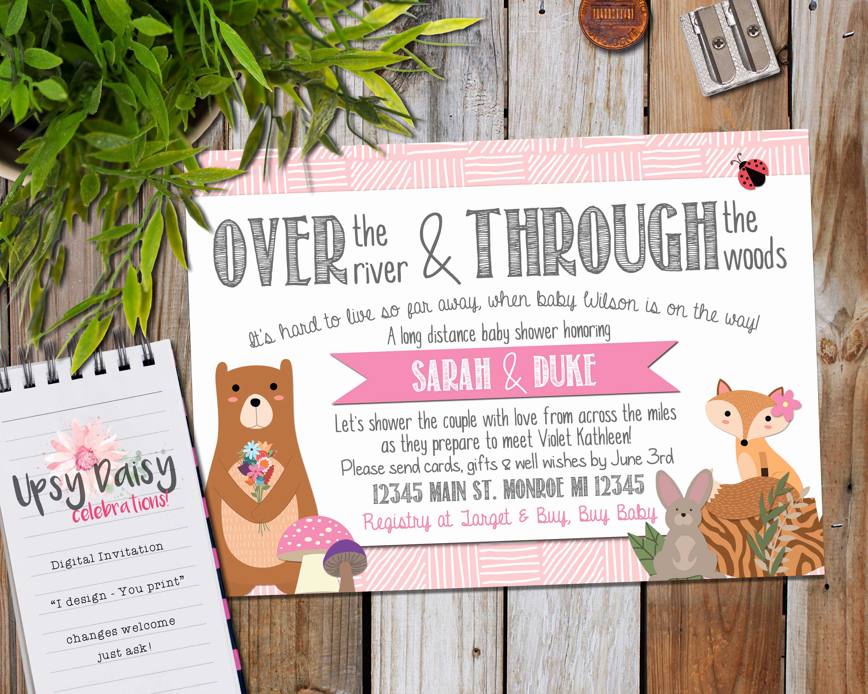 Long Distance Baby Shower Invitation Beautiful Long Distance Baby Shower Invitation Girls Pink Woodland