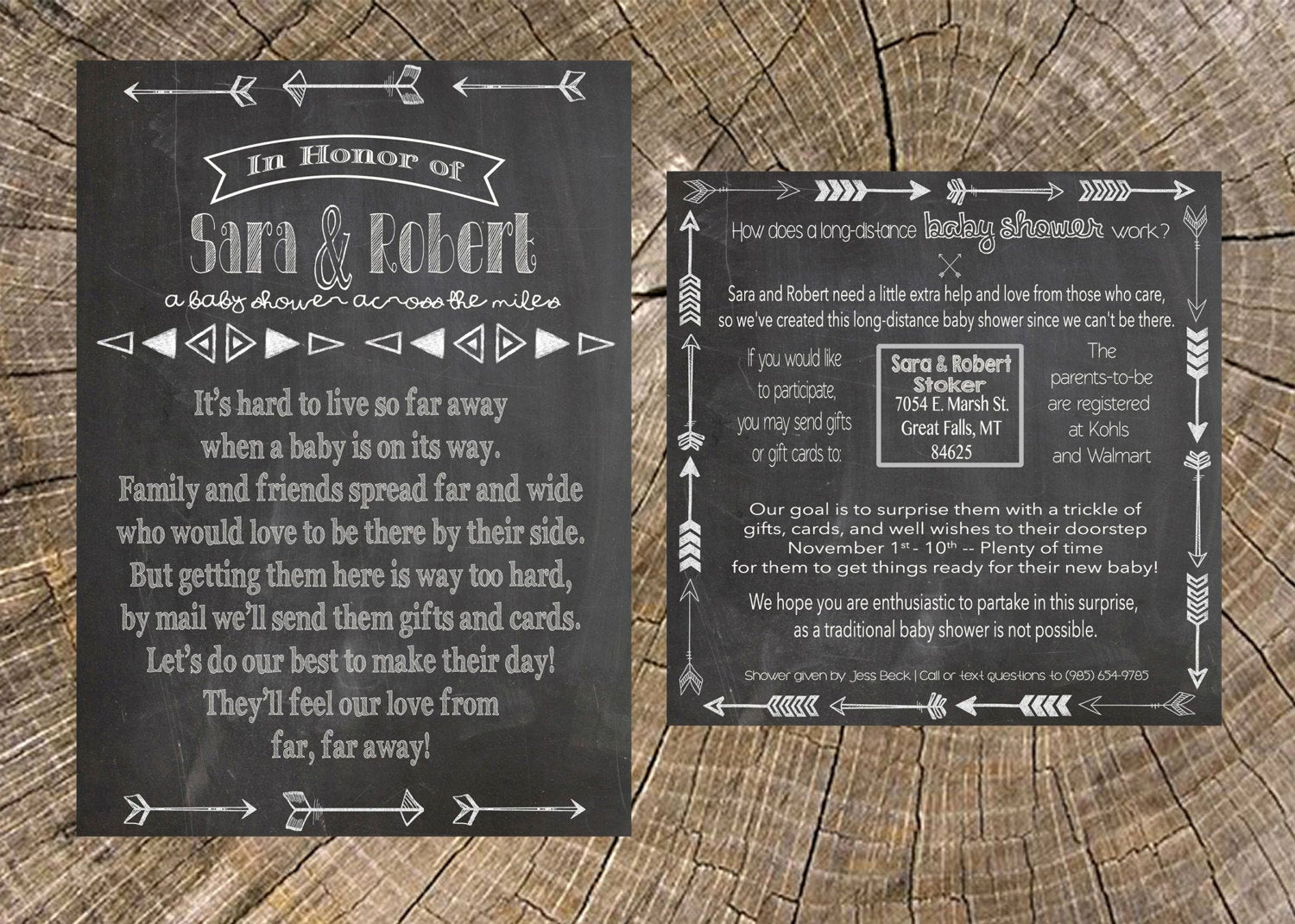 Long Distance Baby Shower Invitation Beautiful Long Distance Baby Shower Neutral Chalkboard 5x7 Invitation