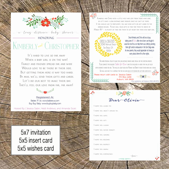 Long Distance Baby Shower Invitation Elegant Long Distance Baby Shower 5x7 Invitation 5x5 Insert 5x5
