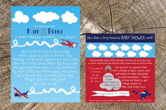 Long Distance Baby Shower Invitation Fresh Airplane Long Distance Baby Shower Invitation & Insert