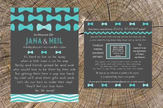 Long Distance Baby Shower Invitation Fresh Long Distance Baby Shower Boy Bow Tie 5x7 Invitation and 5x5