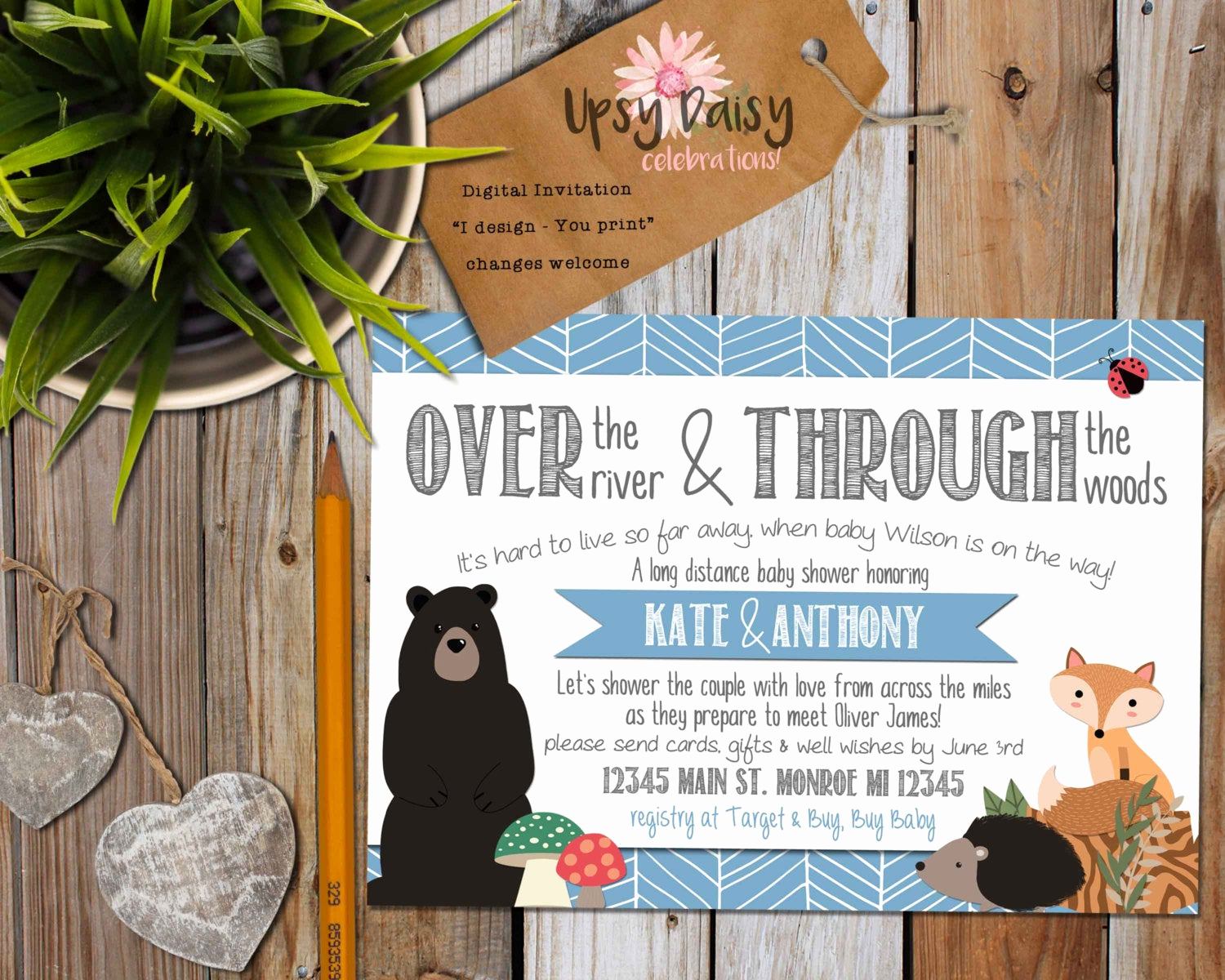 Long Distance Baby Shower Invitation Fresh Long Distance Baby Shower Invitation Boys Blue Woodland