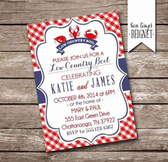 Low Country Boil Invitation Awesome Low Country Boil or Crawfish Shrimp Crab Boil Party