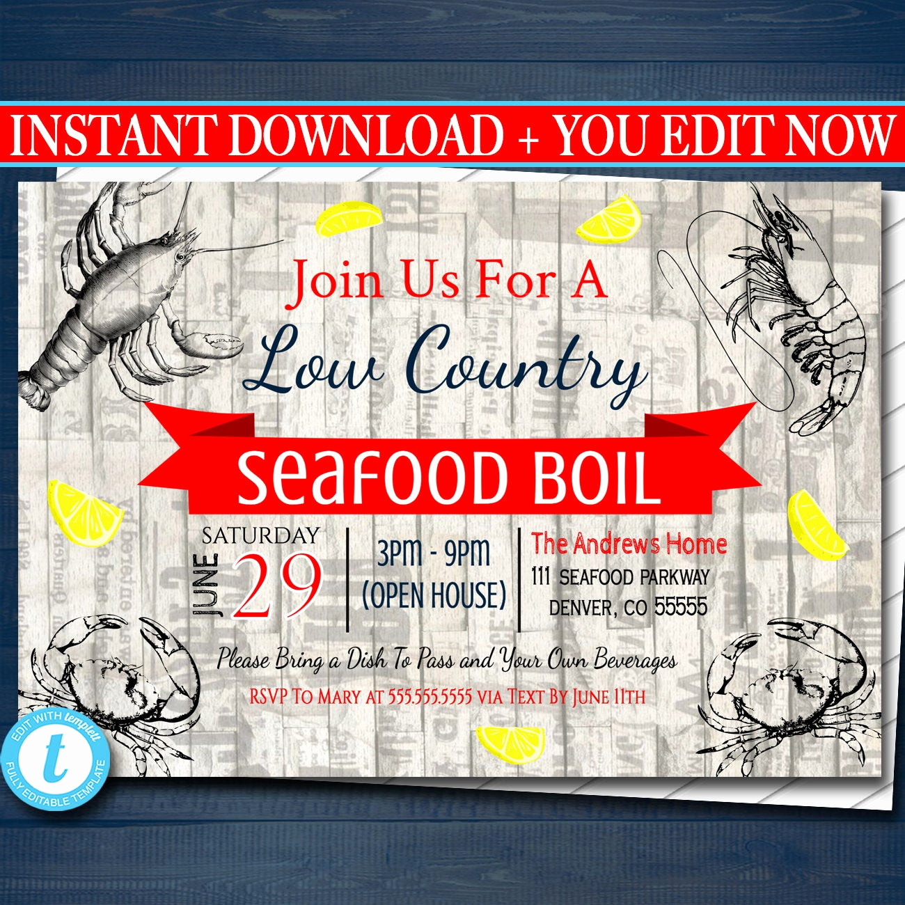 Low Country Boil Invitation Beautiful Editable Seafood Boil Invitation Low Country Pany