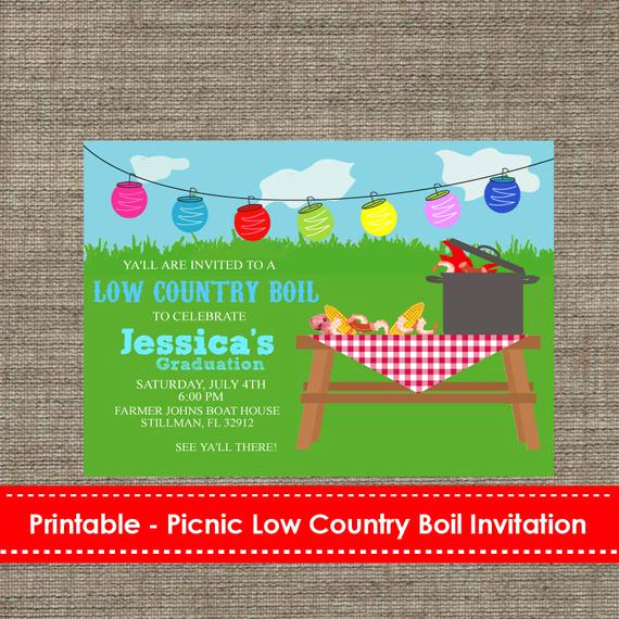 Low Country Boil Invitation Beautiful Picnic Low Country Boil Party Invitation Diy Printable