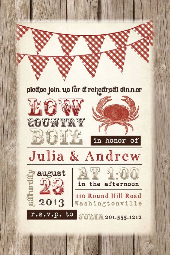 Low Country Boil Invitation Best Of Low Country Boil Crab Barbeque Engagement Rehersal Dinner