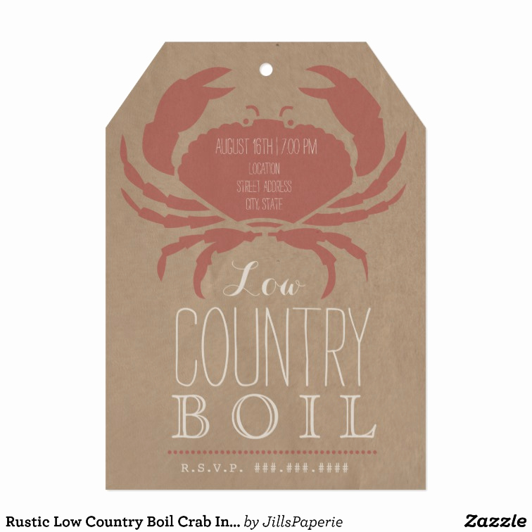 Low Country Boil Invitation Best Of Rustic Low Country Boil Crab Invitation