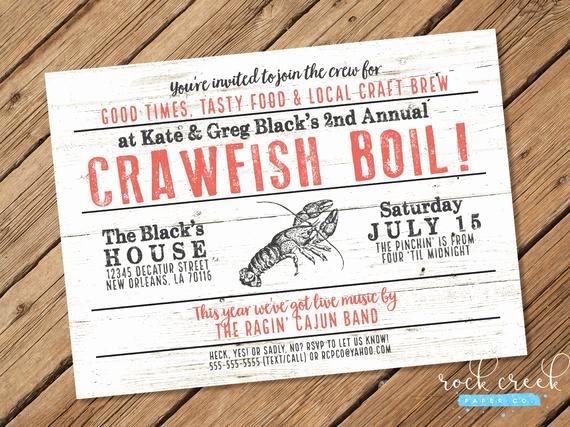 Low Country Boil Invitation Elegant Crawfish Boil Invitation Low Country Boil Seafood Boil