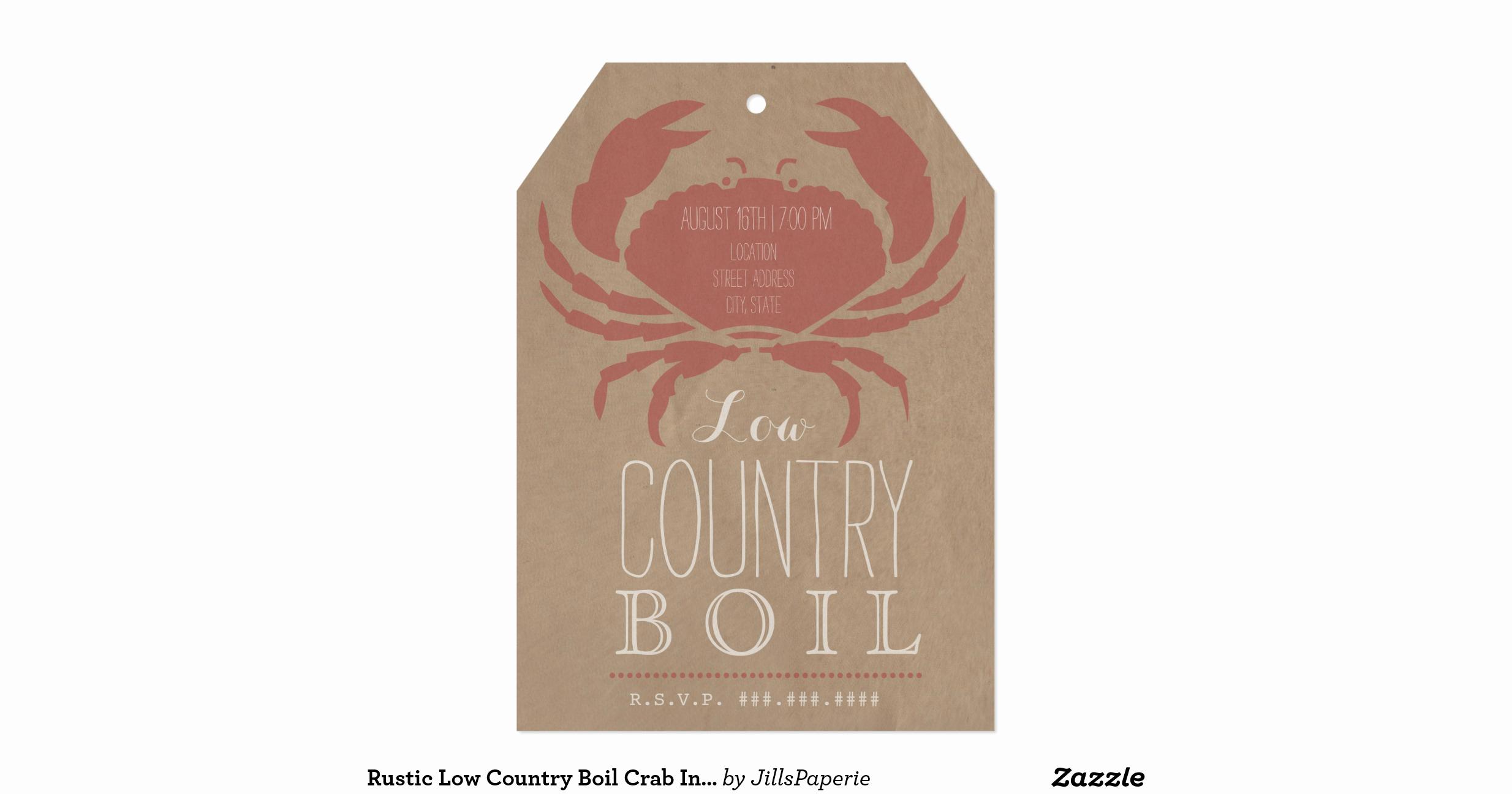 Low Country Boil Invitation Elegant Rustic Low Country Boil Crab Invitation