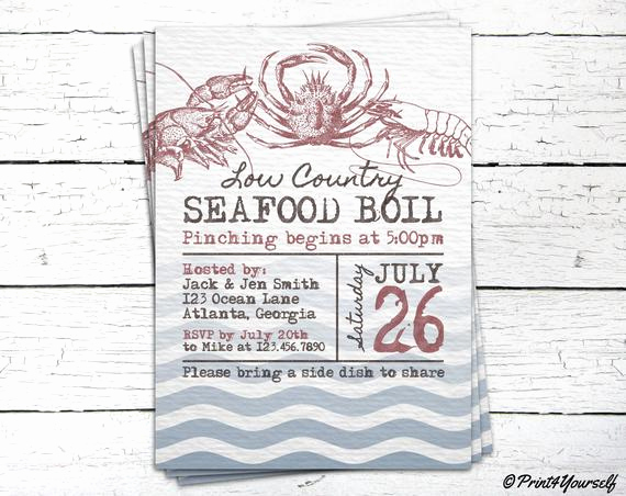 Low Country Boil Invitation Elegant Seafood Boil Invite Personalized Printable Rustic