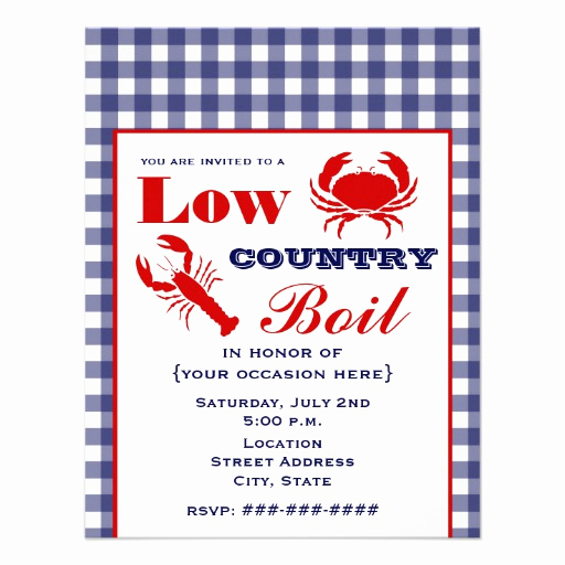 """Low Country Boil Invitation Fresh Low Country Boil Crab & Lobster Blue Gingham 4 25"""" X 5 5"""