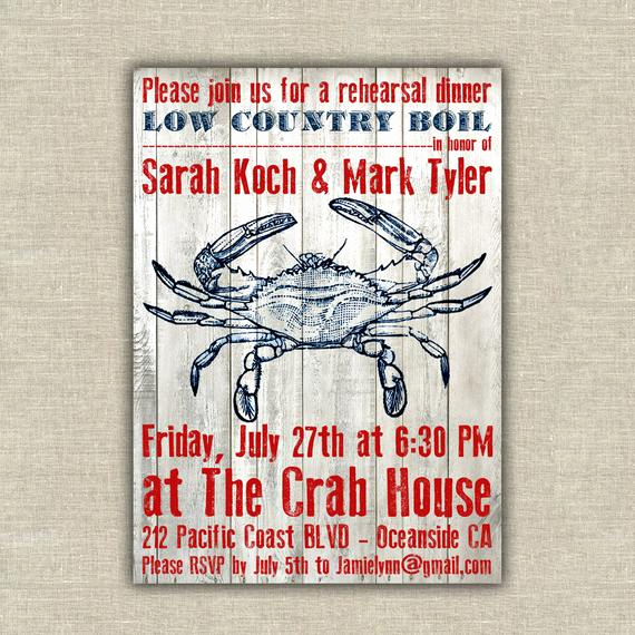 Low Country Boil Invitation Inspirational Items Similar to 25 Rehearsal Dinner Invitations Crab