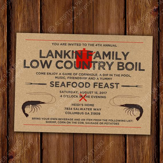 Low Country Boil Invitation Lovely Low Country Boil Invitation Invitation Rustic Shrimp Boil