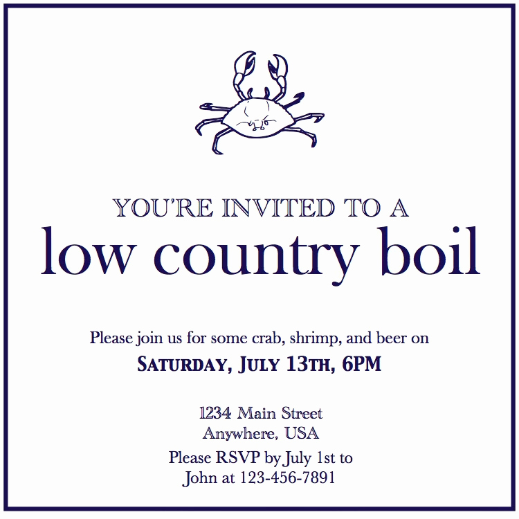 Low Country Boil Invitation Luxury In the Chou S Nest Entertaining