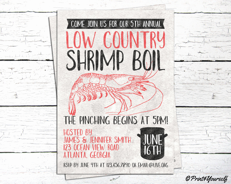 shrimp boil invite personalized