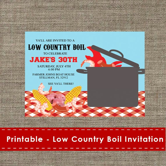 Low Country Boil Invitation Wording Awesome Low Country Boil Party Invitation Diy Printable