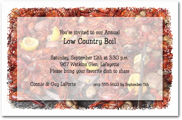 Low Country Boil Invitation Wording Best Of Crawfish Boil Party Invitations Low Country Boil Invitations