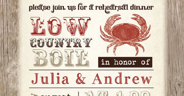 Low Country Boil Invitation Wording Elegant Low Country Boil Crab Barbeque Engagement Rehersal Dinner