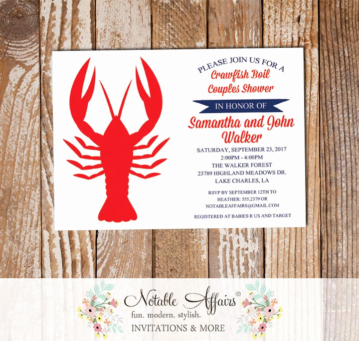 Low Country Boil Invitation Wording Fresh Dark Navy Red Crawfish Boil Low Country Boil Invitation On