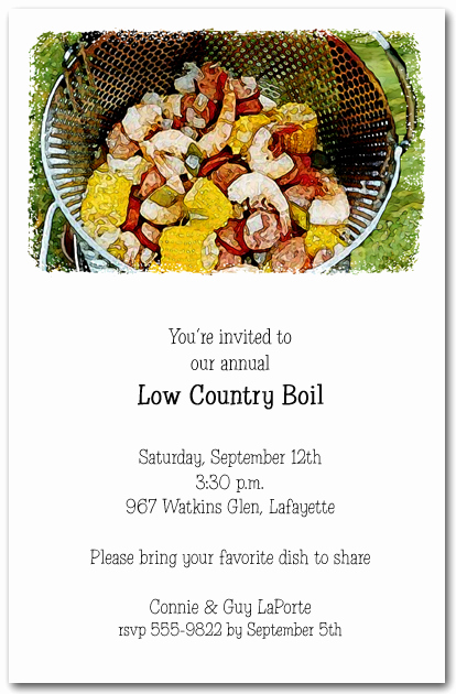 Low Country Boil Invitation Wording Lovely Awesome Low Country Boil Party Invitations
