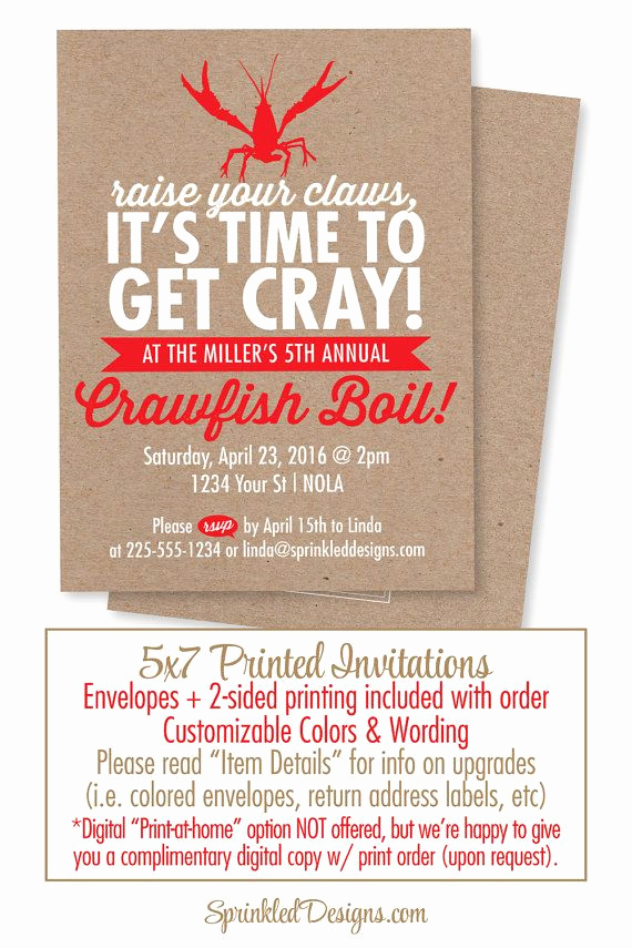 Low Country Boil Invitation Wording Lovely Crawfish Boil Invitation Time to Cray Cray New