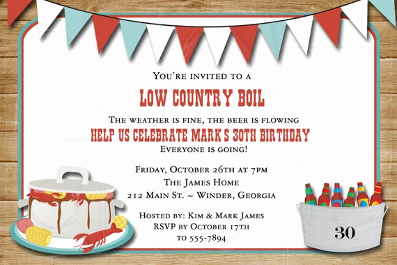Low Country Boil Invitation Wording Luxury Low Country Boil Birthday or Wedding Shower by