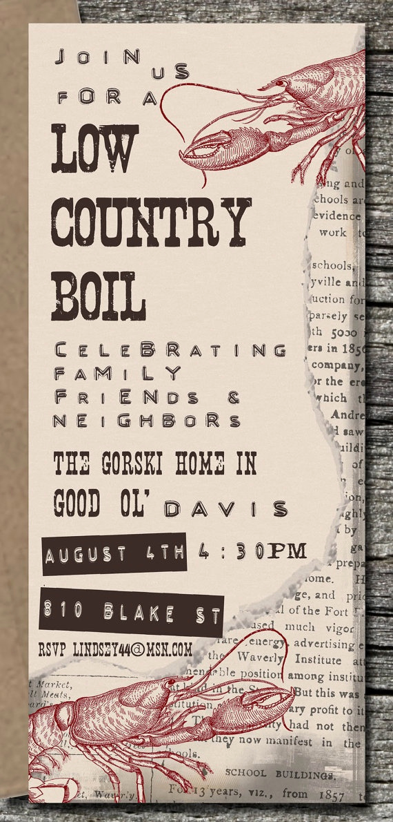 Low Country Boil Invitation Wording Unique 17 Best Ideas About Country Boil On Pinterest