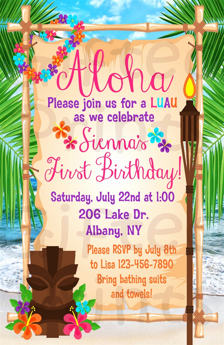 Luau Birthday Invitation Wording Awesome Birthday Invitation Luau theme