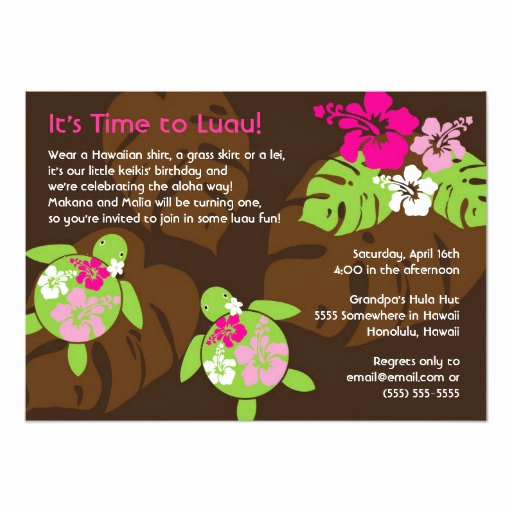 Luau Birthday Invitation Wording Beautiful First Birthday Luau Invitation for Twin Girls