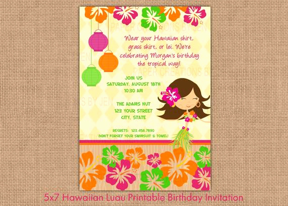 Luau Birthday Invitation Wording Beautiful Hawaiian Luau Printable Birthday Invitation