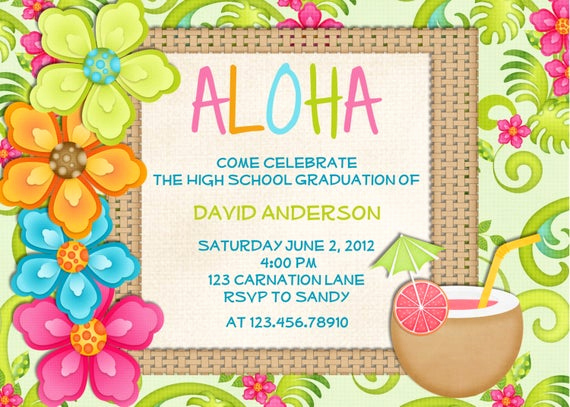 Luau Birthday Invitation Wording Beautiful Luau Birthday Invitation Sweet 16 Tropical Hawaiian Hula Party