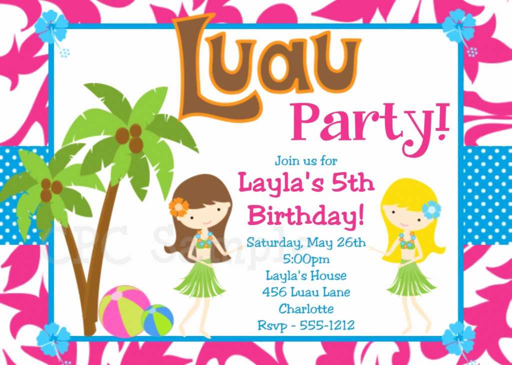 Luau Birthday Invitation Wording Beautiful Luau Birthday Party Invitation Wording – Free Printable