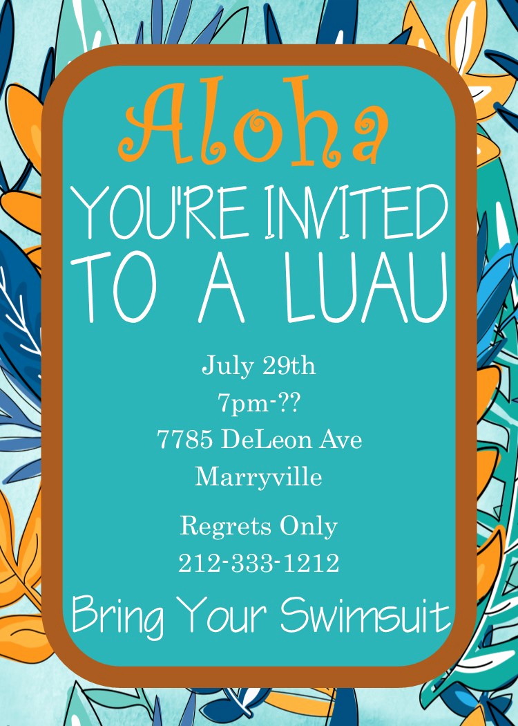 Luau Birthday Invitation Wording Beautiful Luau Party Invitations