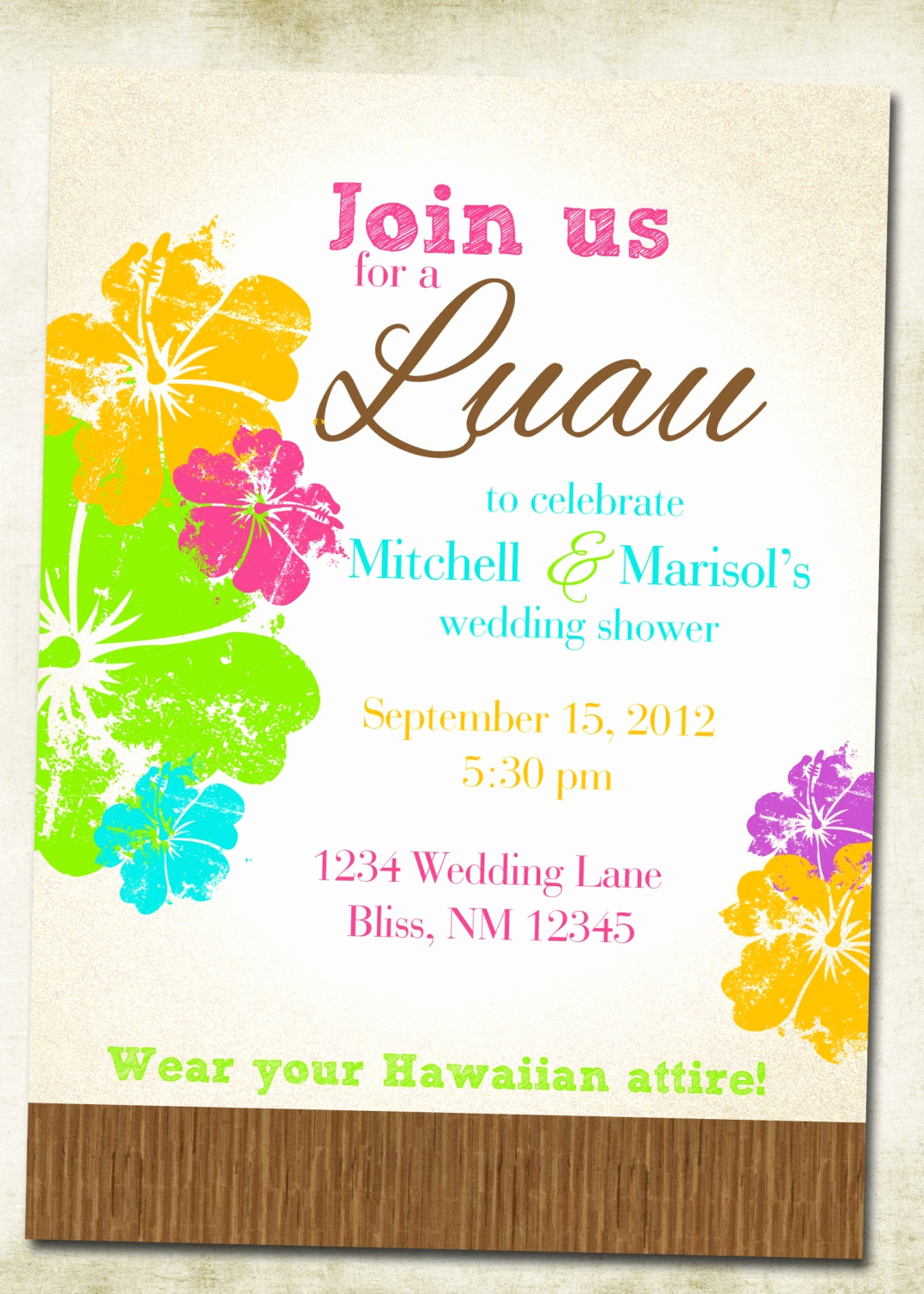 Luau Birthday Invitation Wording Elegant Luau Hawaiian themed Invitation