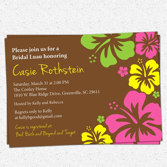 Luau Birthday Invitation Wording Fresh Luau Bridal Baby Shower Invitation Printable Hawaiian