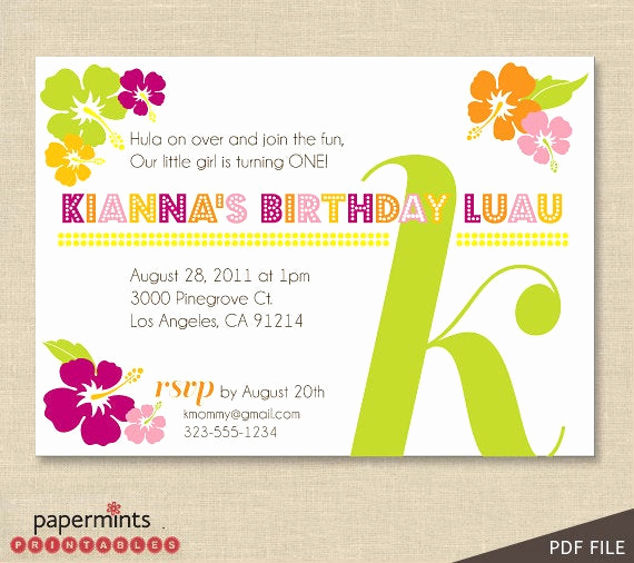 Luau Birthday Invitation Wording Fresh Printable Hawaiian Luau Party Invitation by