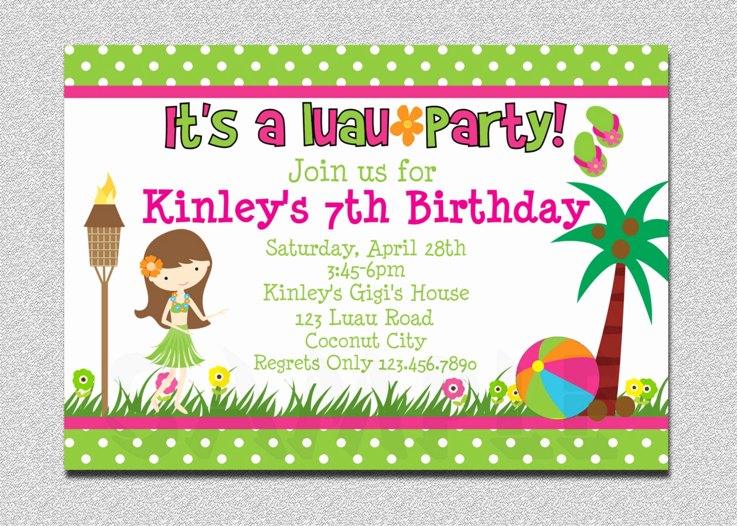 Luau Birthday Invitation Wording Inspirational Luau Birthday Invitation Luau Birthday Party Invitation