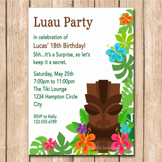 Luau Birthday Invitation Wording Inspirational Luau Birthday Invitation Tiki Mask by Heartfeltinvitations