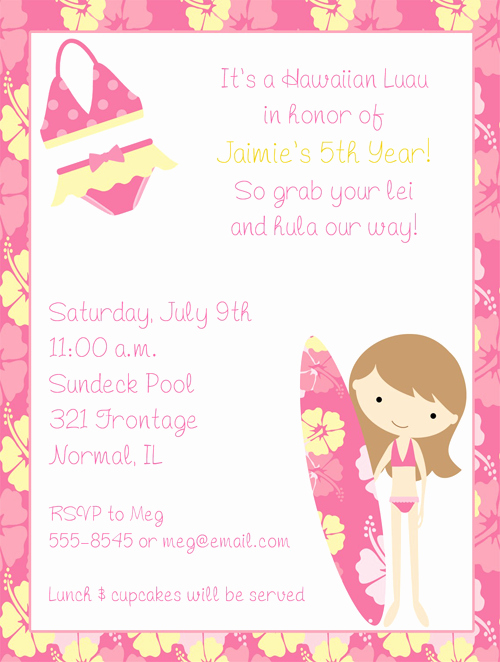 Luau Birthday Invitation Wording Lovely Hawaiian Luau Party Invitation Templates