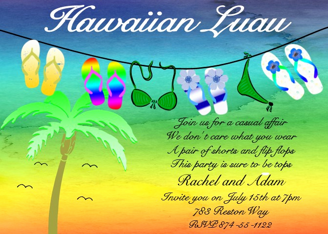 Luau Birthday Invitation Wording Lovely Luau Party Invitations