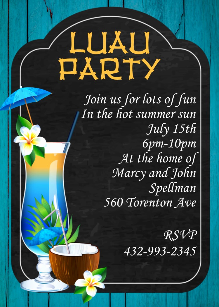 Luau Birthday Invitation Wording Luxury Luau Party Invitations