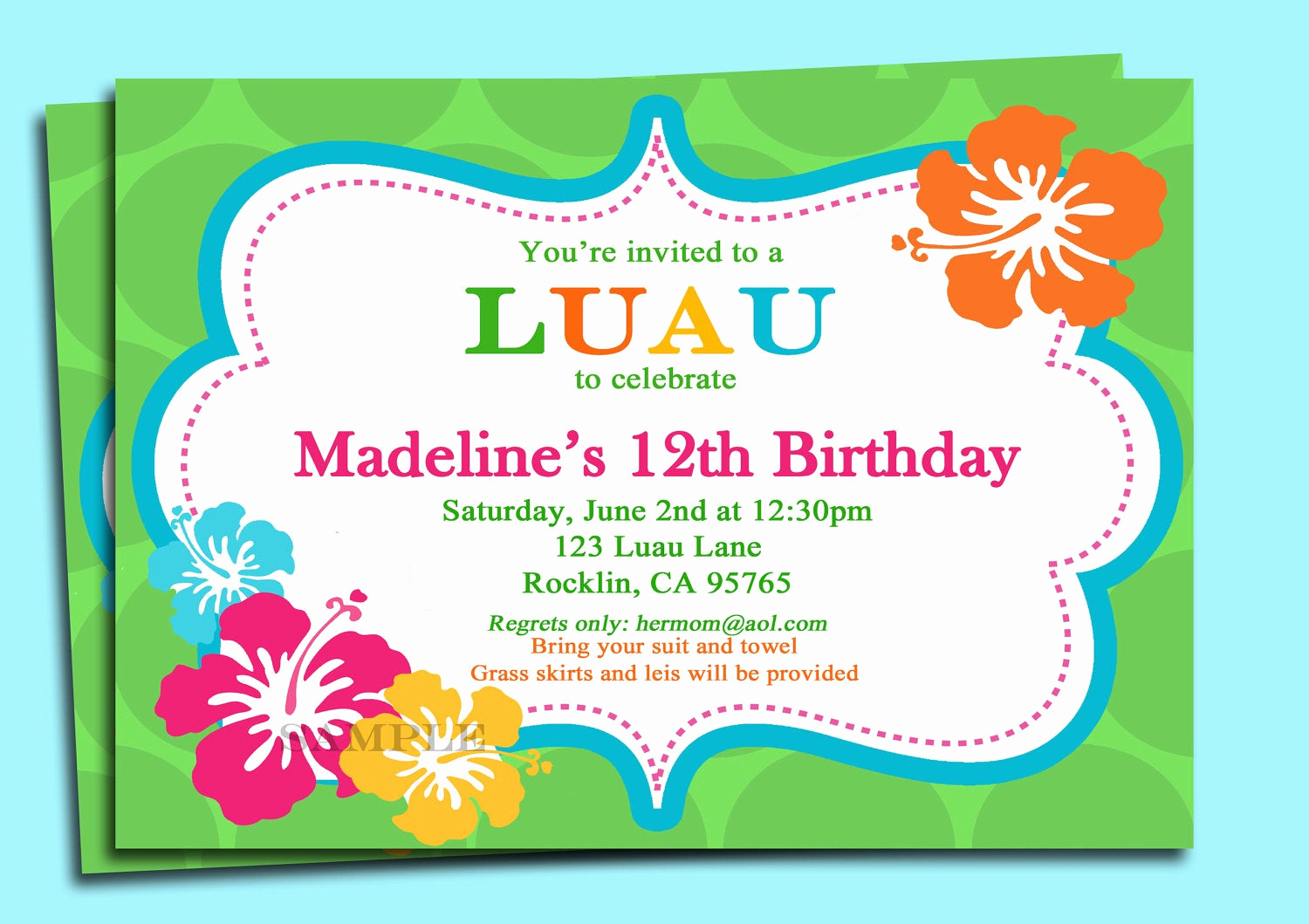 Luau Birthday Invitation Wording Unique Luau Invitation Printable or Printed with Free Shipping