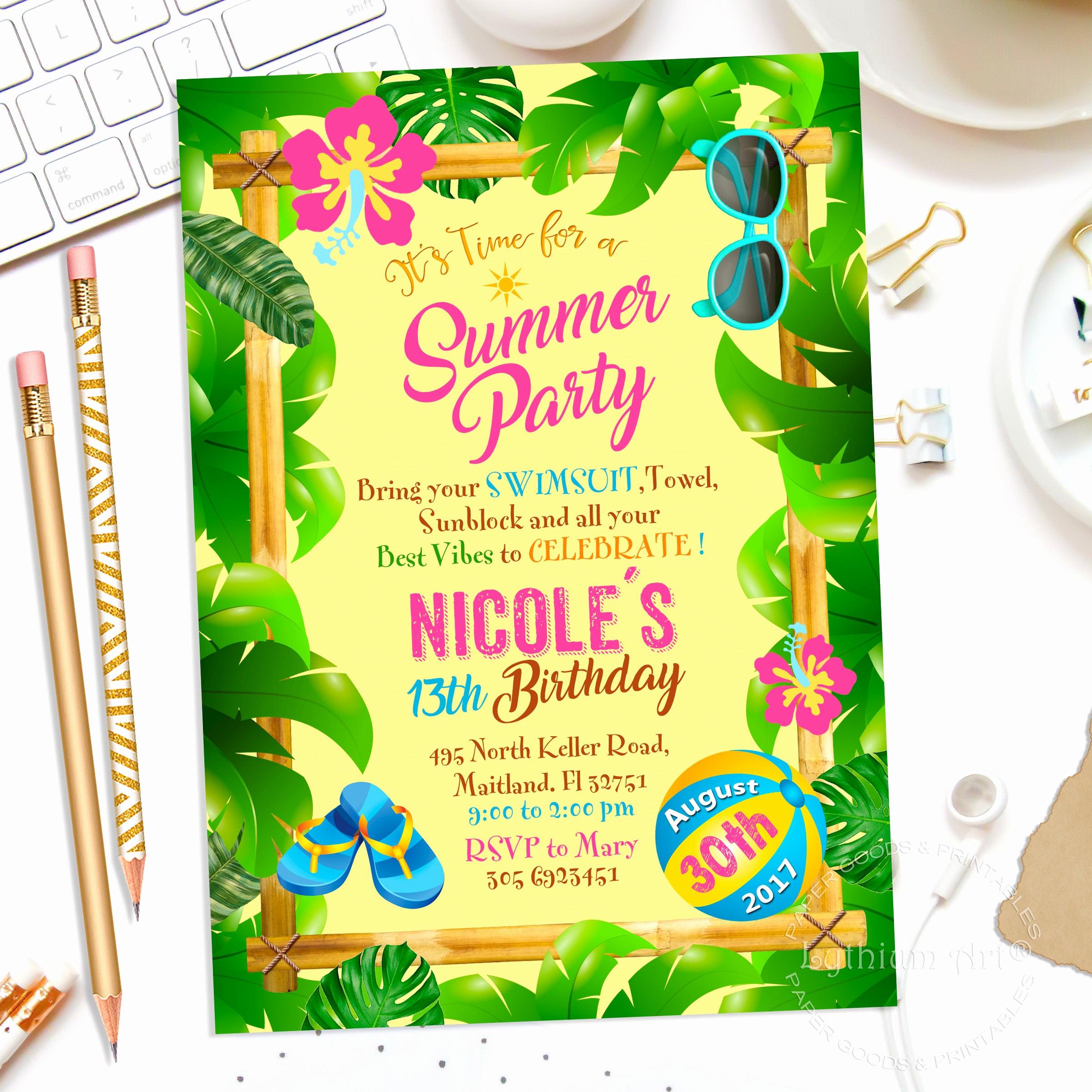 Luau Party Invitation Template Beautiful Tropical Party Invitation Girls Summer Invitation Summer