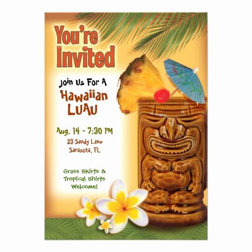 Luau Party Invitation Template Elegant Tropical Tiki Party