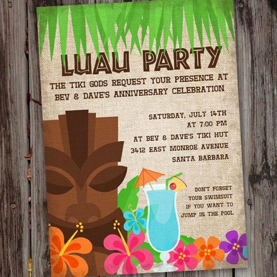 Luau Party Invitation Template Fresh Hawaiian Luau Printable Birthday Party Invitation