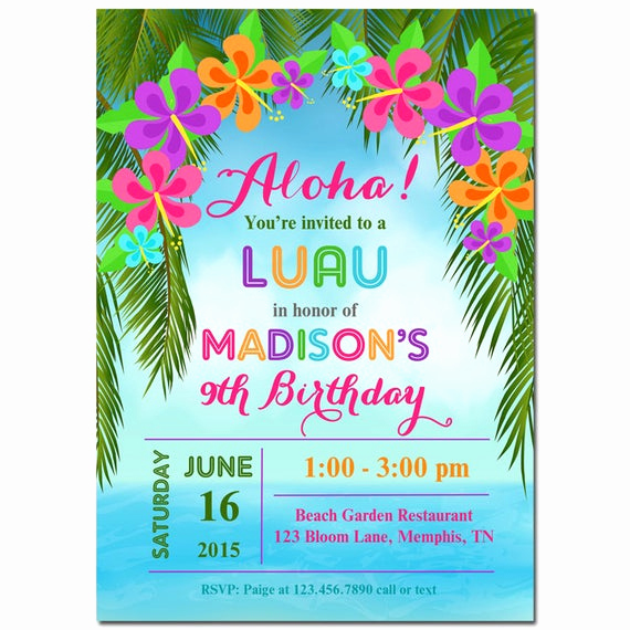 Luau Party Invitation Template Inspirational Luau Invitation Printable or Printed with Free Shipping