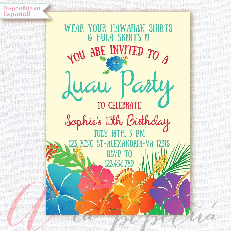 Luau Party Invitation Template Luxury Luau Invitation Birthday Party Hawaiian Party Invitation