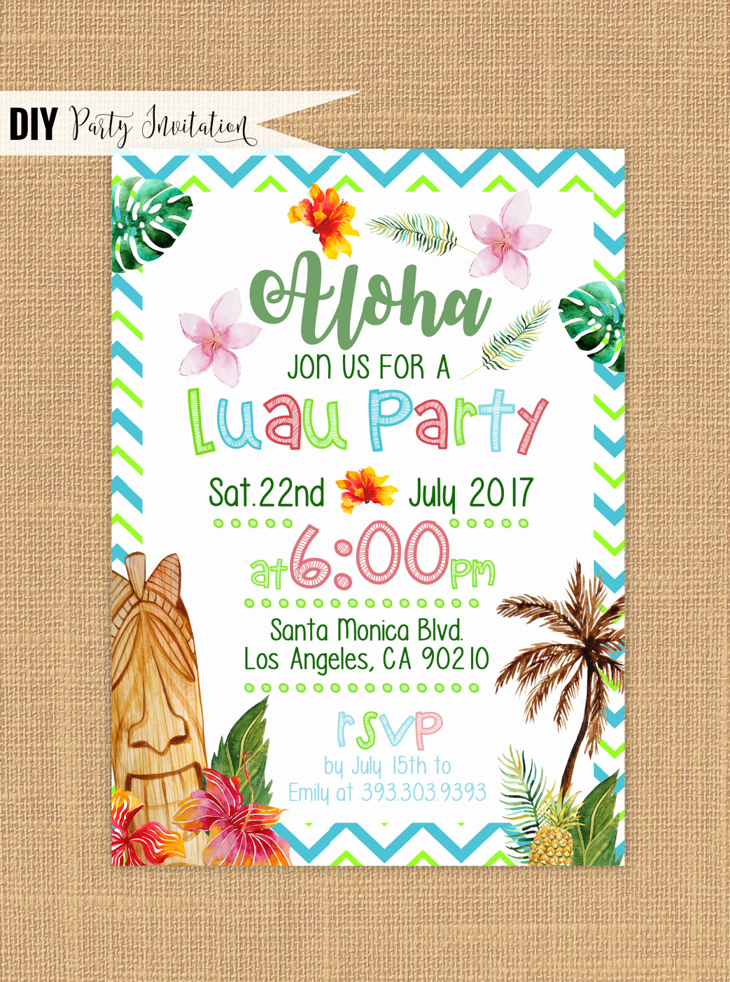 Luau Party Invitation Template New Luau Invitation Printable Luau Birthday Invitations