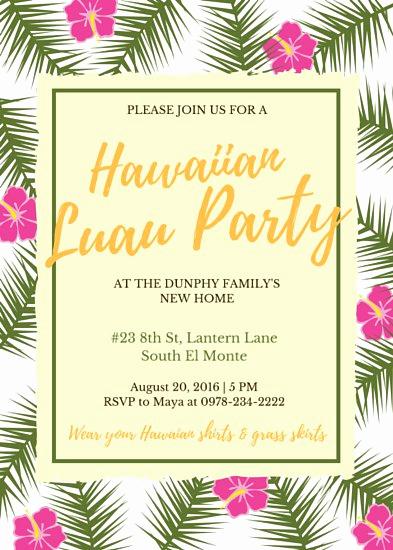 Luau Party Invitation Template New Luau Invitation Templates Canva