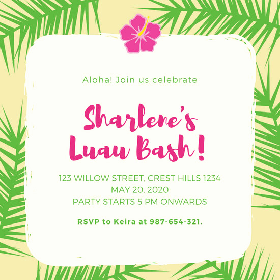 Luau Party Invitation Template Unique Customize 2 423 Hawaiian Party Invitation Templates